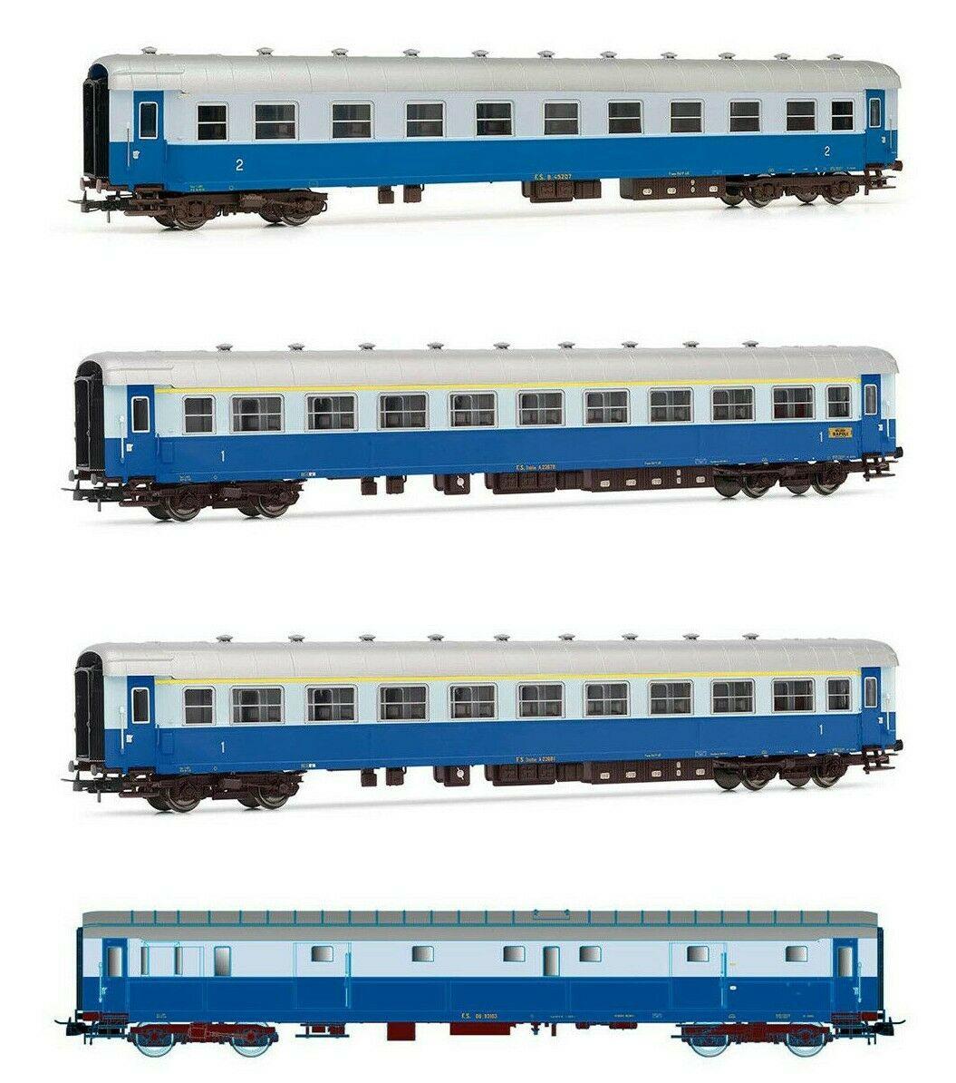 RIVAROSSI HR4275 - FS set quattro carrozze ''Treno Azzurro'' un bagagliaio tipo 49, una 2 cl. tipo 59, due 1° classe tipo 59 livrea epoca III-IV